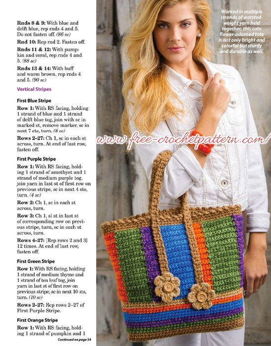 beautiful crochet tote - free patterns