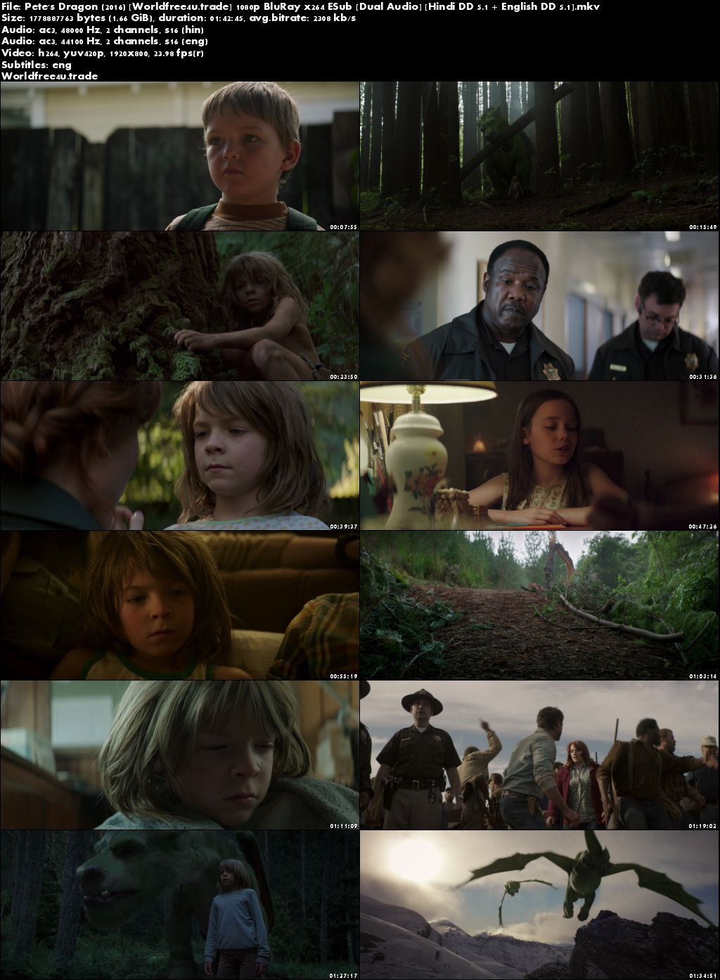 Pete's Dragon 2016 BRRip 300MB Hind Dubbed Dual Audio 480p Download