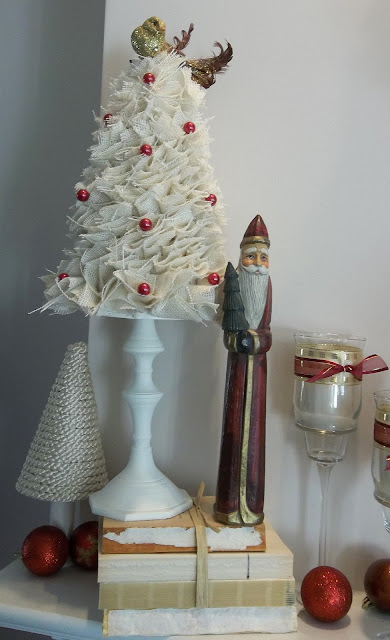 Vintage, Paint and more... diy burlap tree with red beads, silk cord tree