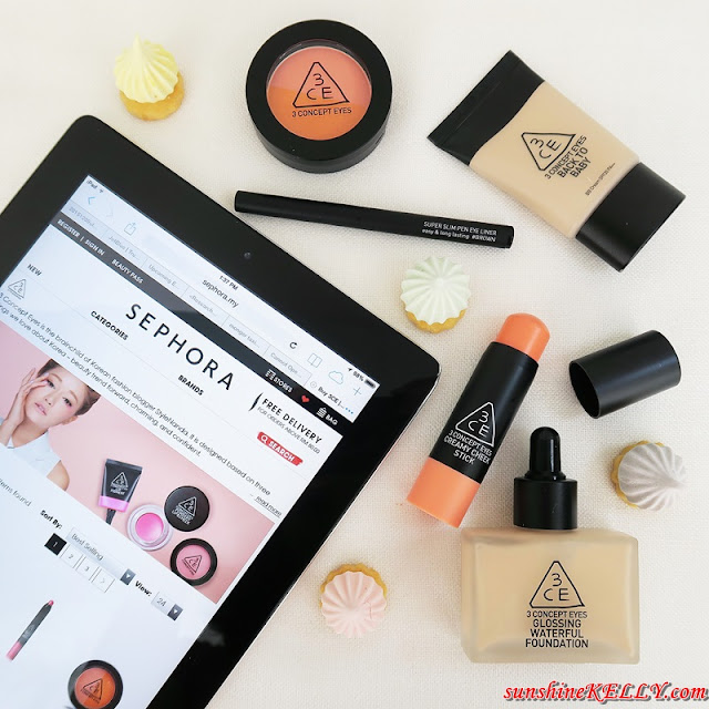 3CE is Now Available on Sephora.sg, sephora, sephora sg, sephora my, sephora online, 3CE, Korean Beauty, k beauty, 3 Concept Eyes, Stylenanda, Park Sora, korean cosmetics, Back to Baby BB Cream SPF35 PA++, Glossing Waterful Foundation SPF15 PA+, Duo Color Face Blush, Creamy Cheek Stick, Super Slim Pen Eye Liner