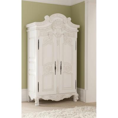 lemari pakaian klasik duco putih