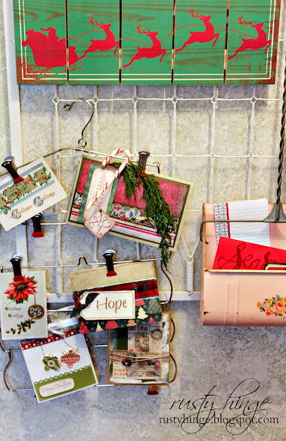 Rusty Hinge clip pant hanger Christmas card display