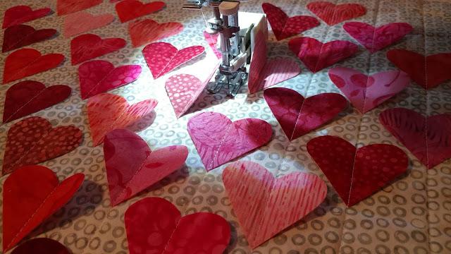 3D heart mini quilt
