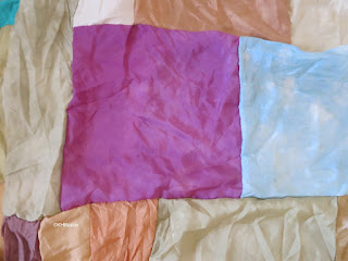 center: silk dyed with cochineal