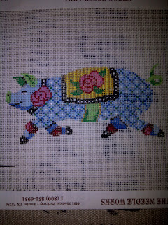 Patti Mann needlepoint pig