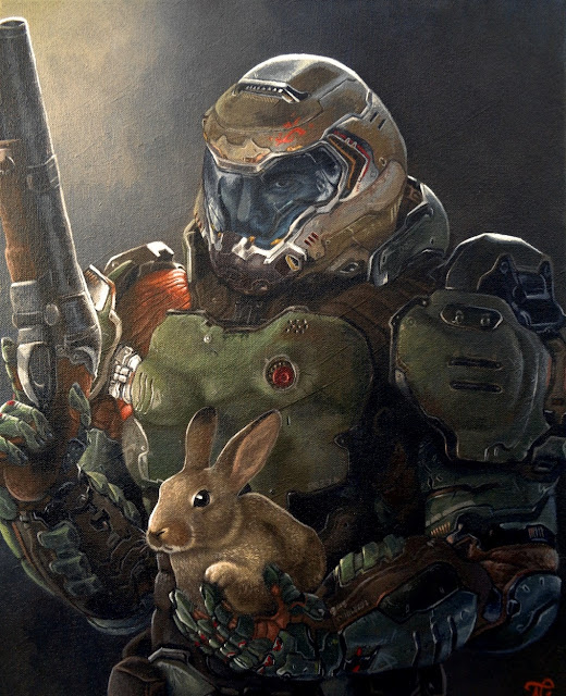 Quadro do DoomSlayer e a Daisy
