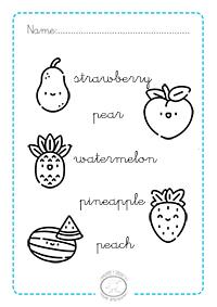 Fichas De Frutas En Inglés Para Colorear Imagenes Y Dibujos Para