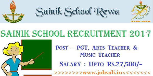 Teachers Recruitment in Sainik Schools, Vacancy in Sainik School Rewa, Teaching jobs in MP