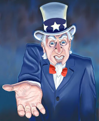 Greedy Uncle Sam - Source: https://gideonfountain.wordpress.com/2012/08/02/surprise-the-irs-taxes-olympic-medals-and-everything-else/