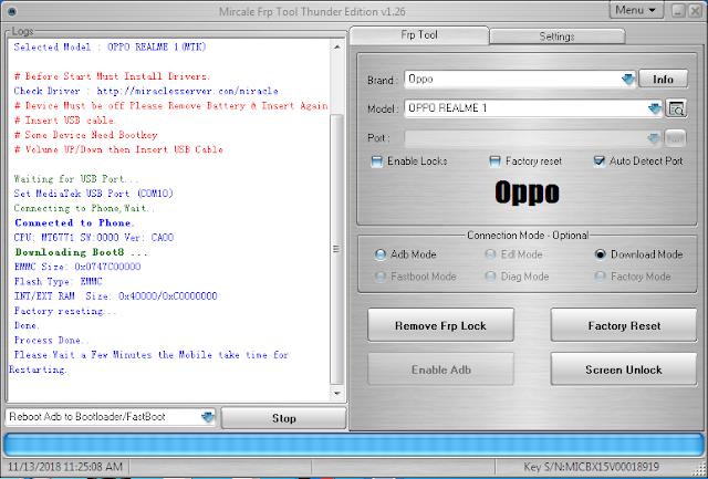 Oppo Realme 1 Pattern Lock Remove done by Miracle FRP Tool v1 26
