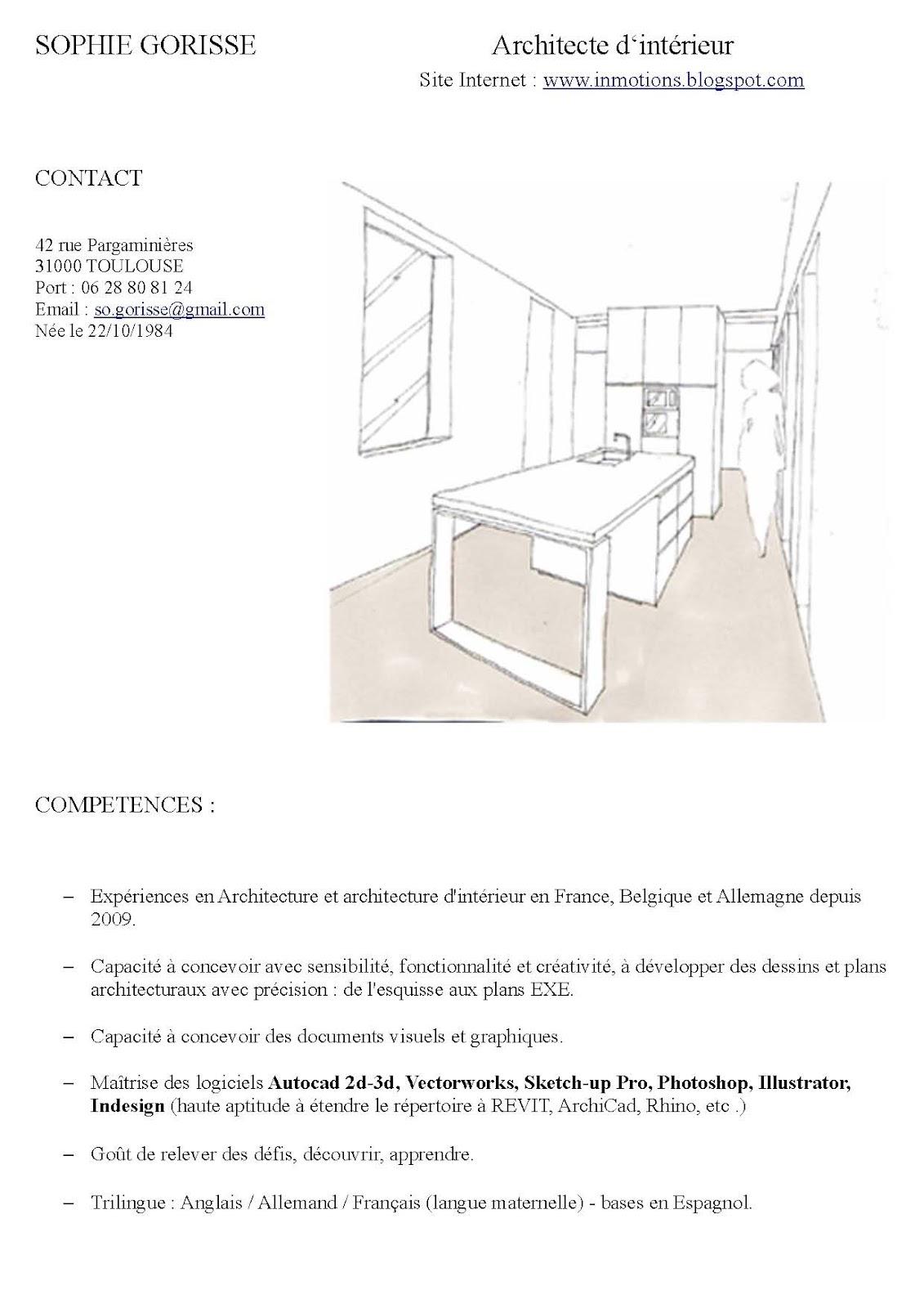 l 39 architecture d 39 int rieur curriculum vitae architecte d 39 int rieur. Black Bedroom Furniture Sets. Home Design Ideas