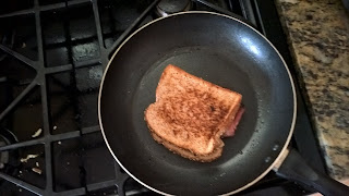 grilled cheese in a frying pan