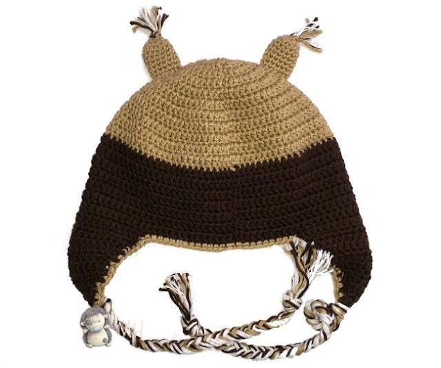 Gorro búho a crochet por detrás