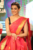 Kajal Aggarwal in Red Saree Sleeveless Black Blouse Choli at Santosham awards 2017 curtain raiser press meet 02.08.2017 044.JPG