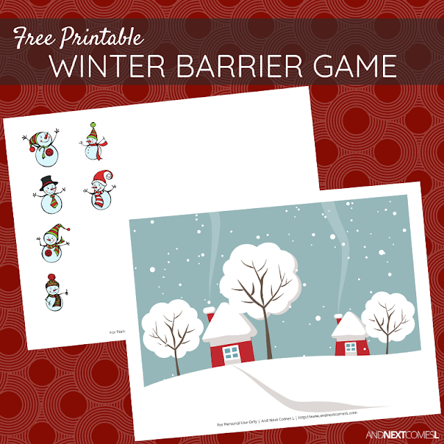Free printable winter snowmen themed barrier game for speech therapy