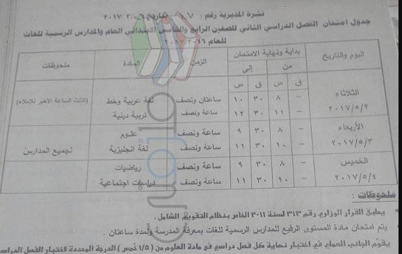 جدول امتحانات الصف الرابع الابتدائي 2017 الترم الثاني محافظة قنا
