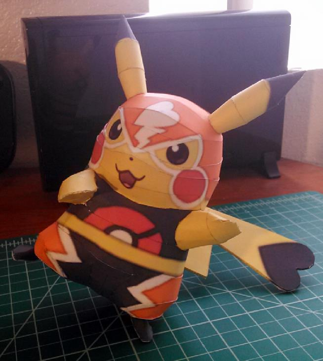 Created By French Designer And Modeler Sabi96 This Is A Cute Paper Model Version Of Pikachu The Libre Kind Mexican Lucha Fighter