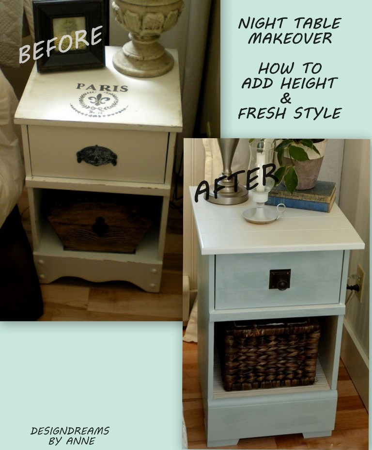 designdreamsanne: night stand makeover - how to add height