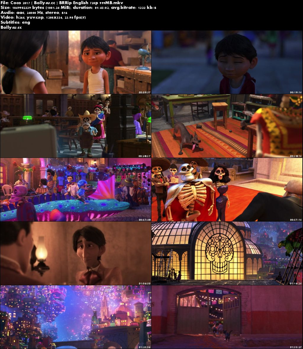Coco 2017 BRRip 999MB English 720p ESub Download