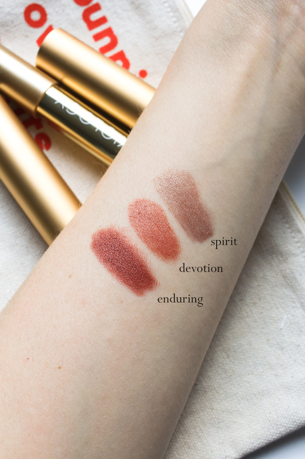 Axiology Limited Edition Makeup Discovery Spring Lip Collections Beauty Heroes. Vegan, palm oil free. Spirit Sheer Balm Lipstick, Devotion Soft Cream Lipstick, Enduring Lip Crayon swatches