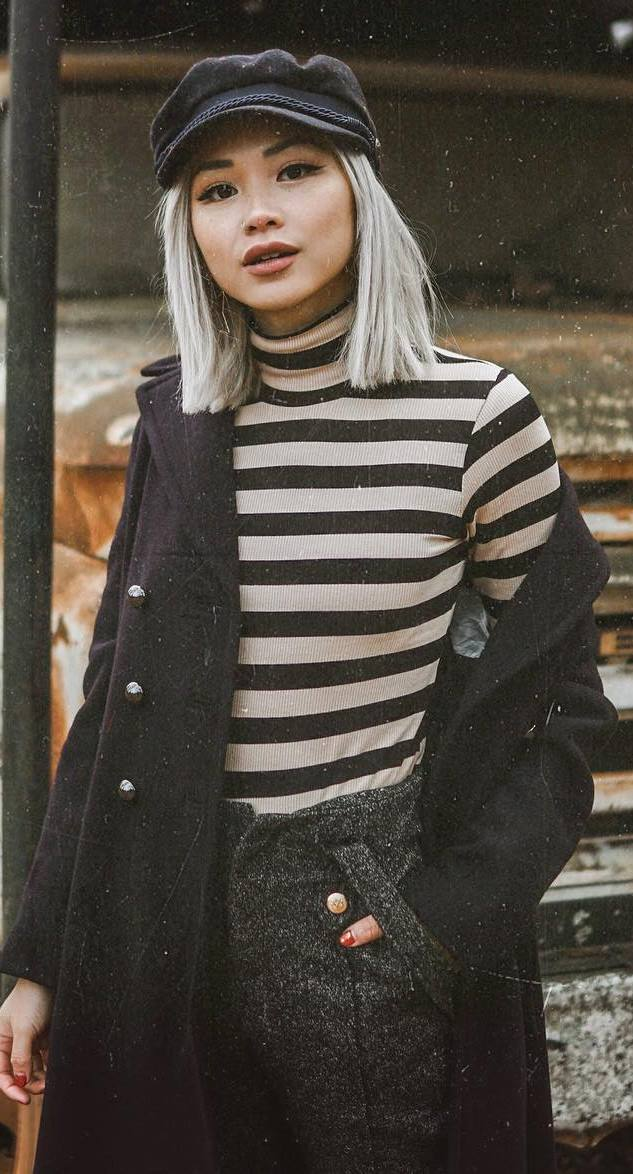 what to wear with a hat : stripped top + coat + pants
