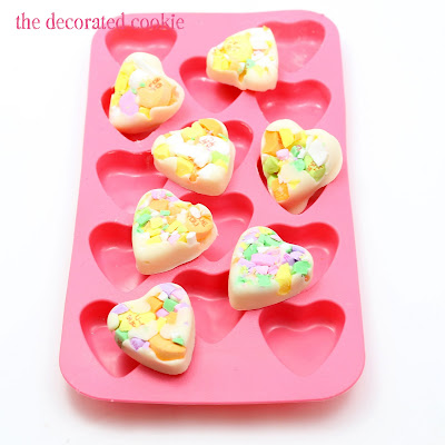 conversation heart chocolate bark for Valentine's Day