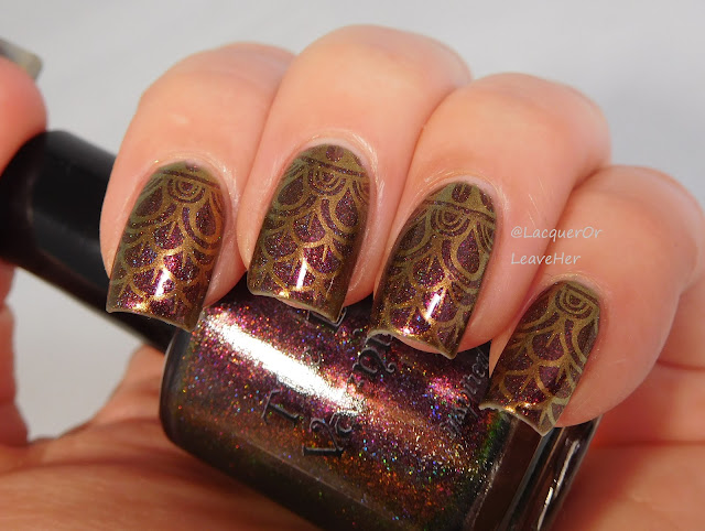 UberChic Beauty 21-03 over The Lady Varnishes Harpy