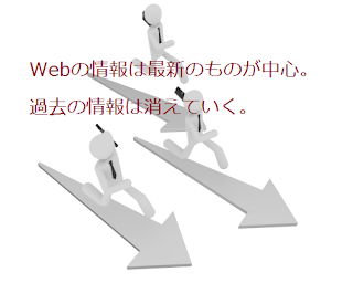 Webの情報は最新のものが中心。過去の情報は消えていく。