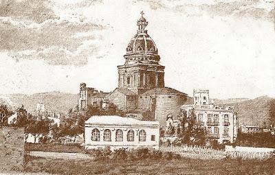 Grabado de la iglesia parroquial de Sant Andreu y su entorno