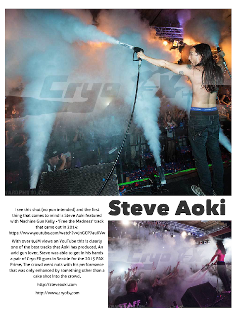Raver Magazine featured CryoFX® and Steve Aoki in the October Issue 2015