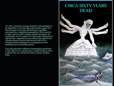 Book cover, front and back, with a six-armed goddess statue on the front and summary on the back.