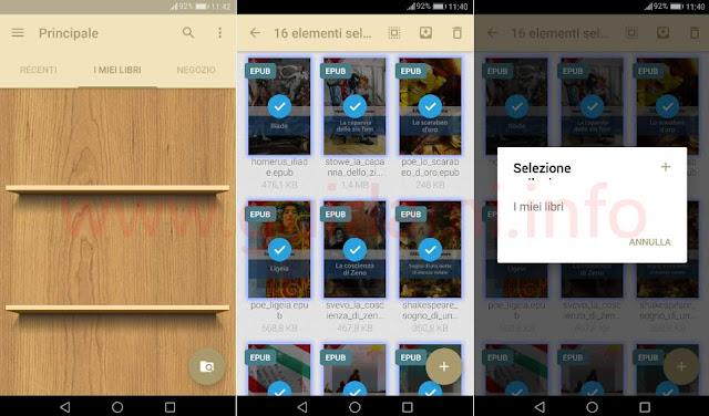 App Android eReader Prestigio aggiungere libri a I miei libri