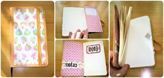 Librera scrapbooking de bolsillo con goma alterada y decorada