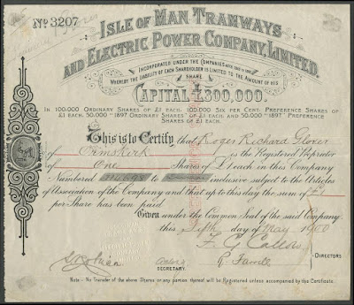 Isle of Man Tramways and Electric Power Co share certificate with triskelion coat of arms
