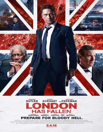 Poster Of London Has Fallen 2016 English 350MB BRRip 720p ESubs HEVC Free Download Watch Online Worldfree4u