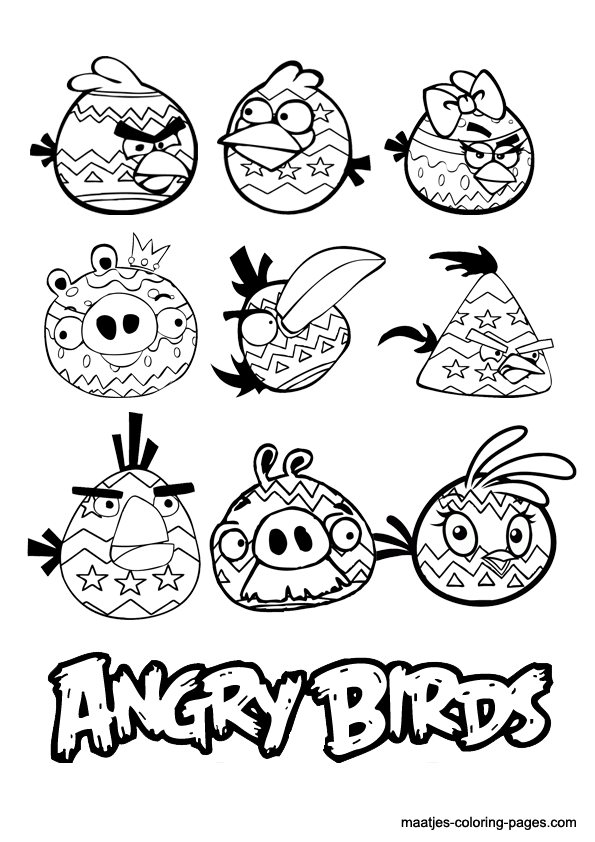 printable angry birds coloring pages - angry birds easter coloring pages
