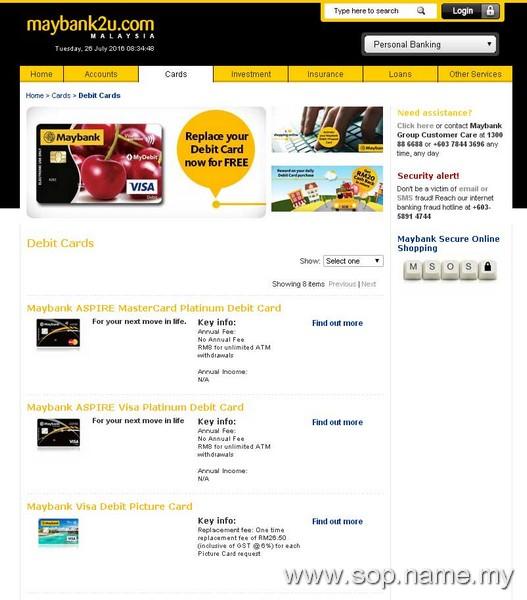Mohon Maybank Visa Debit Picture Card secara online