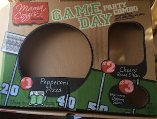 An empty box of Mama Cozzi's Game Day Pizza and Breadsticks Sampler, from Aldi
