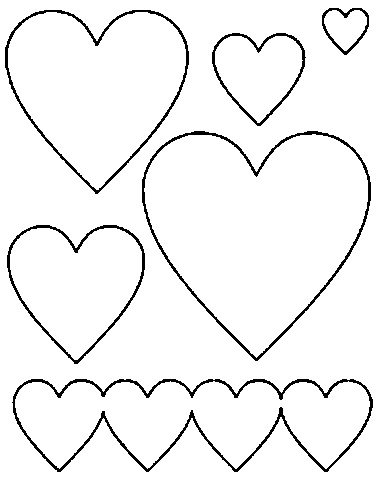 Confira esse molde de coração de todos os tamanhos em EVA