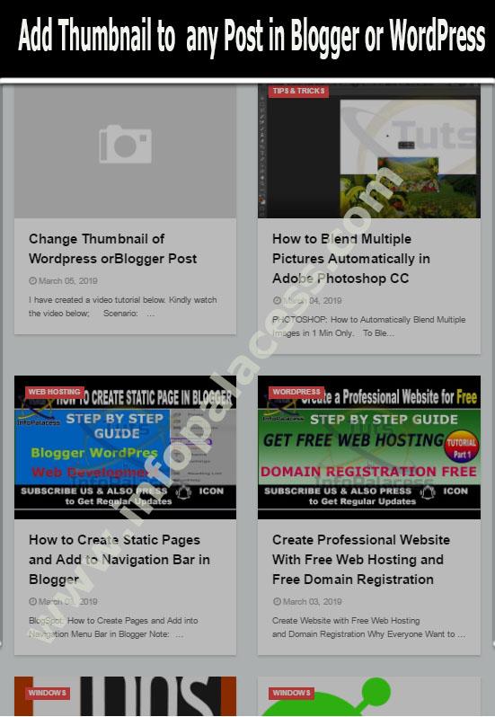 Change Thumbnail of Wordpress or Blogger Post