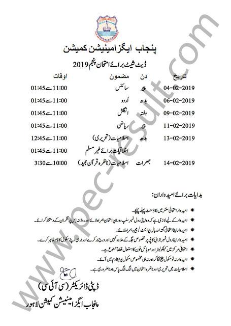 5th Class Date Sheet 2020