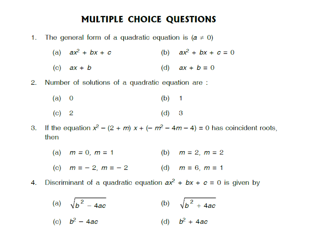 Study notes for Delhi Public school Quadratic Equations Class X – Quadratic Equations Worksheet