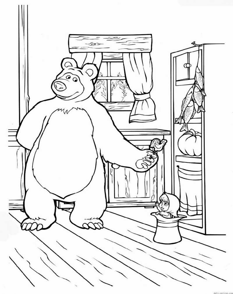 Mewarnai Gambar Masha And The Bear Masha Coloring Pages