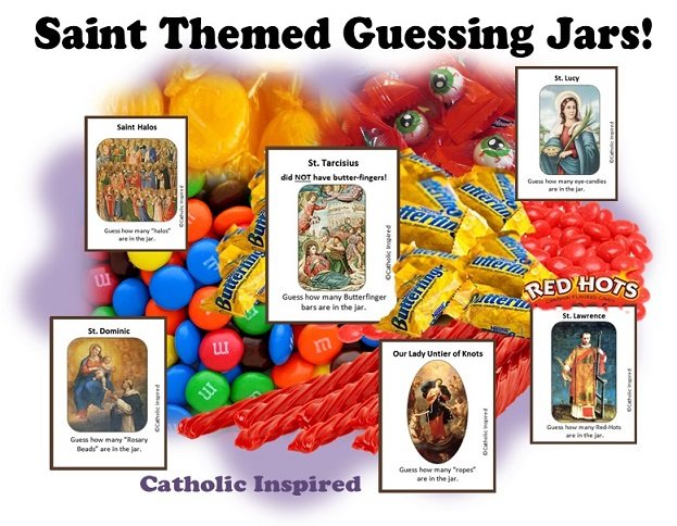 Saint Themed Guessing Jars Set 3 With 6 New Labels Catholic Inspired