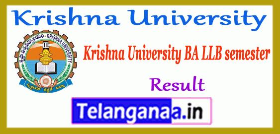 Krishna University BA LLB 2nd 4th 6th 8th 10th Semester Result
