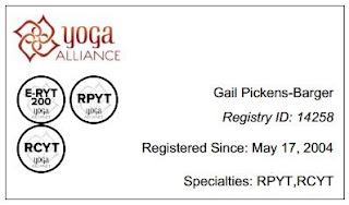 Yoga Alliance - ERYT, RCYT, RPYT - Gail Pickens-Barger