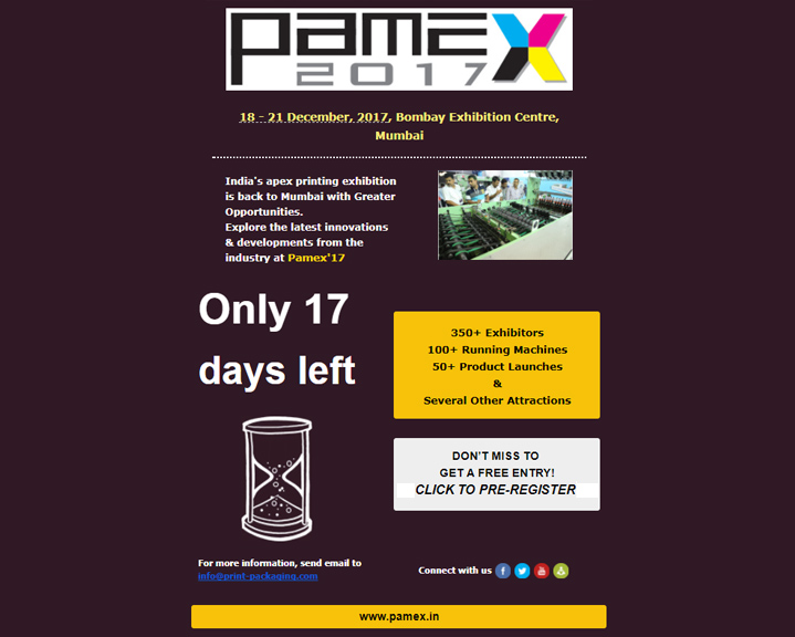 Only 17 days to go for Pamex'17, Mumbai- Pre Register NOW!!