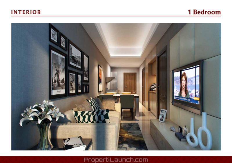 Interior Design Tipe 1 BR Apartemen Saffron Noble
