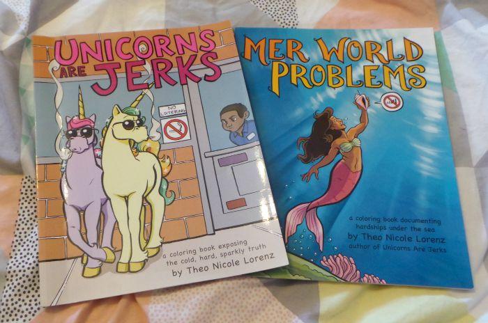 unicorn and mermaid colouring books