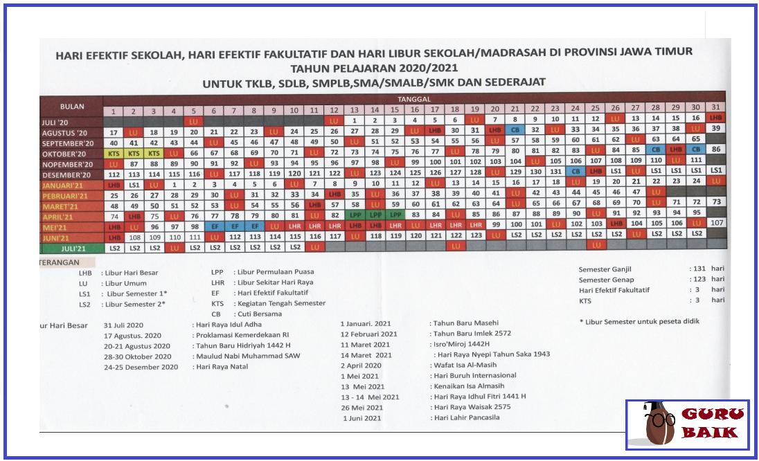 gambar kalender pendidikan jawa timur tahun 2020/2021